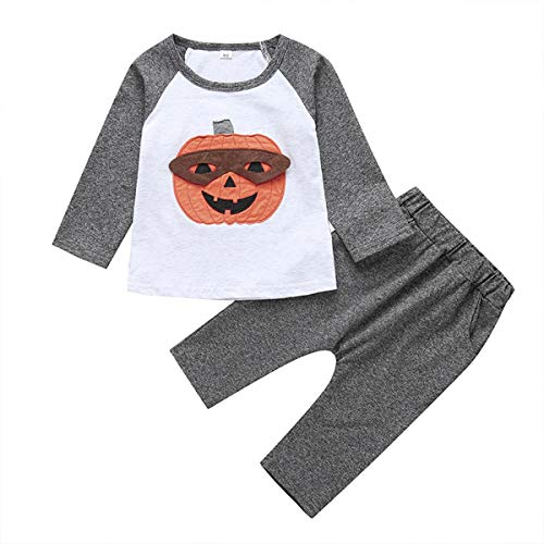 Baby Boy Girl Pumpkin Print T- Shirt Toddler Kids Halloween Outfits Set Long Sleeve Tops+ Pants Costume Clothes (Grey, 18-24 Months)
