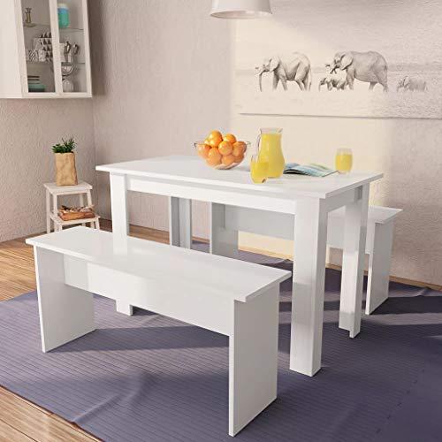 Festnight 3-TLG.Essgruppe Tisch und Bänke Tischgruppe | 1 Tisch & 2 Bänke | Sitzgruppe Tisch Bank | Esszimmer Esstisch | Spanplatte Weiß