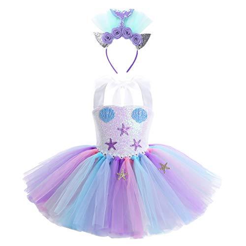 Agoky Disfraz Tutú de Sirenita para Niña Vestido de Princesa con Estrella y Concha Halter Vestido Fantasía Lentejuelas para Fiesta Carnaval Halloween Colorful 8-9 Años