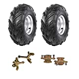 TDPRO Pair 16x8-7 Front Tubeless Wheel Tire with Rim with Disc Brake Wheel Rim Hub & Steering Knuckle for ATV Quad Bike Buggy Ride on Mowers