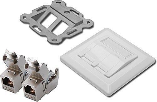2x Assmann DN-93615 Digitus Professional Cat 6A Keystone-module, afgeschermd, montage zonder gereedschap + bijpassende doos