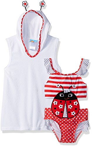 Baby Buns Toddler Girls' Little Lady Terry Cover-up Swim Set, Multi, 2T