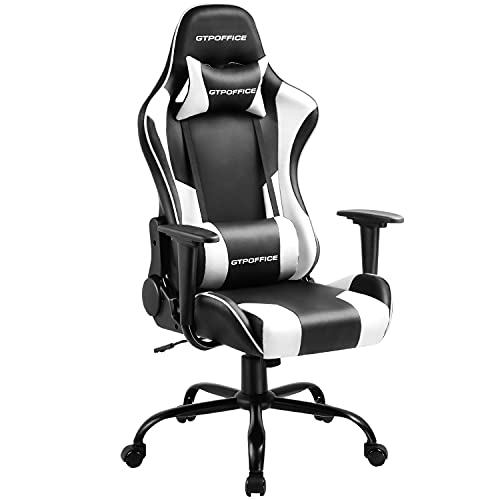 Gaming Chair Massage Office Chair High Back Computer Chair Leather Desk Chair Racing Executive Ergonomic Adjustable Swivel Task Chair with Headrest and Lumbar Support,White