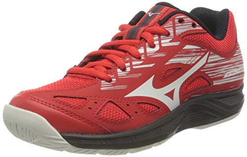 Mizuno Stealth Star Junior, Zapatilla de Balonmano Unisex Niños, Fiery Red/Wanblue/Salute, 17.5 EU