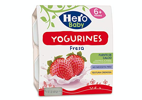Hero Baby Yogurines - Tarrinas de Yogur de Fresa para Bebés a partir de 6 meses Pack de 6 de 4x100 g