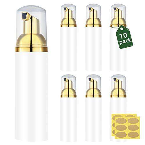 Lisapack 2oz. Foam Pump Bottle Dispenser (10 PCS) Small Foaming Soap for Travel Hand Sanitiser, Castile soap, Lash Cleaner (60ml, Gold & White)