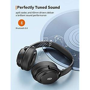 Active Noise Cancelling Headphones, TaoTronics Bluetooth Headphones Over Ear Wireless Headphones 40H Playtime aptX Type-C Fast Charging Bluetooth 5.0 CVC 8.0 Mic for TV PC Cellphone