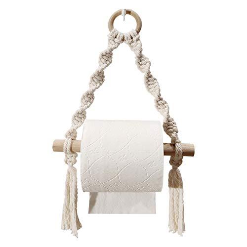 fuguzhu Portarrollos de papel higiénico, cuerda de cáñamo, soporte para rollo de papel higiénico, hecho a mano, para montar en la pared, para baños, inodoros (02)