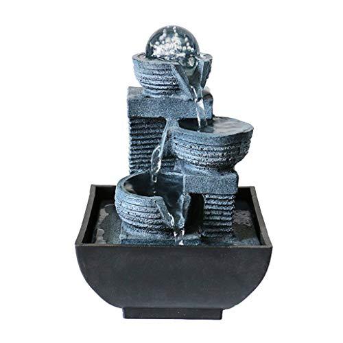 Fuente de Interior En interiores y exteriores Feng Shui fuente de escritorio de 3 capas Pequeño Relajación Cascada de escritorio y fuente de mesa for el dormitorio sala de estar Home Office, 7.9' Altu
