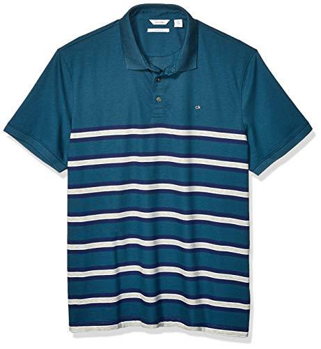 Calvin Klein Liquid Touch Polo Stripe with UV Protection, Majolica Blue Summer 1, XL para Hombre