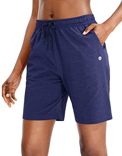 G Gradual Women's Bermuda Shorts Jersey Shorts with Deep Pockets 7' Long Shorts for Women Lounge Walking Athletic (Navy Blue, Medium)