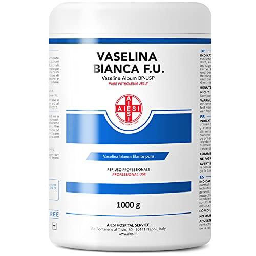 AIESI® Vaselina bianca filante pura F.U. barattolo da 1 kg per uso Medicale Dermatologico e Professionale # Made in Italy