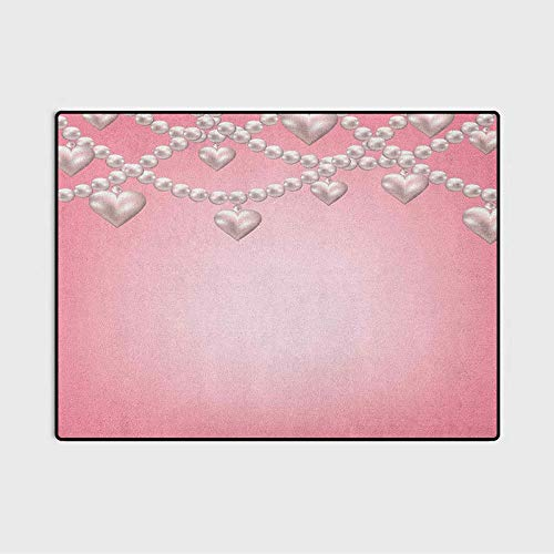 Pearls Rugs for Outdoors Rugs for Kitchen Heart Pearl Necklace Design Vintage Accessory Love Valentines Celebrating Artwork Anti-Skid Nursery Girls Carpets Beige Pink 3 x 5 Ft