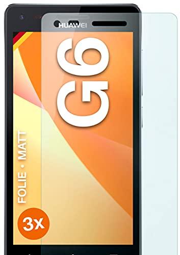 moex Schutzfolie matt kompatibel mit Huawei Ascend G6 - Folie gegen Reflexionen, Anti Reflex Bildschirmschutz, Matte Bildschirmfolie - 3X Stück