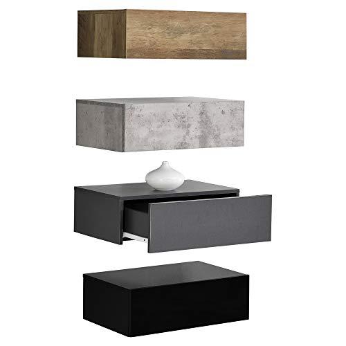 Wandplank met lade-4 stuks-Hout/Betonlook/grijs/zwart
