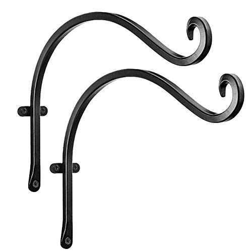 iloving 2pcs Wall Mounted Decorative Hook Balcony Fence Posts Anti Rust Indoor Outdoor Plant Hanger Hanging Basket Bracket Wrought Iron
