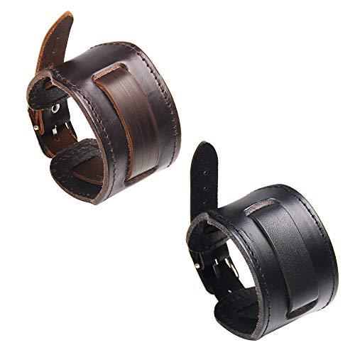 Armband aus Leder – Armreif aus Leder – Größe verstellbar und angenehm zu tragen. Für Damen und Herren – Farbe Braun oder Schwarz - Marron et Noir