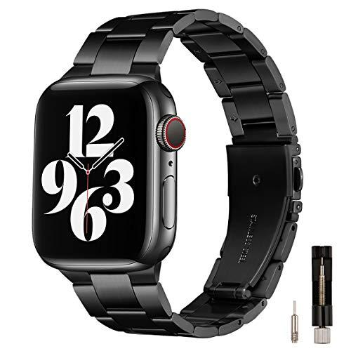 GEARYOU Bracelet en Métal Compatible avec Le Bracelet Apple Watch 44mm 42mm 40mm 38mm, Bracelet en Acier Inoxydable Compatible avec la Série iWatch 6/5/4/3/2/1, Se (42 mm 44 mm, Noir)