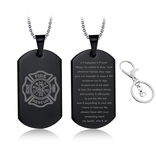 LF Stainless Steel Firefighter Necklace,Sentiment Inspirational Fire Rescue Firemans Gift,Black Firegfighter Prayer Pendant Jewelry Gift for Men for Husband,Dad,Boyfriend