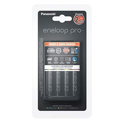 Panasonic BQ-CC55E Chargeur rapide Eneloop Pro 3H. Lot de 4 Accus AA/Mignon/LR6 2500 mAh pré-chargé inclus
