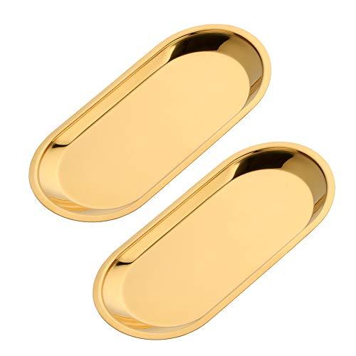 Buyer star Gold 2PCS 9inch Stainless Steel Oval Tray Fruit Trays Storage Tray Dish Plate Cosmetics Jewelry Decorative Organizer