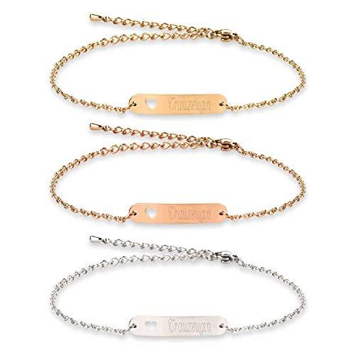 Armband mit Namen Gravur | ID Armband | Personalisierte Geschenke | Individuelle Wunschgravur | Personalisierter Schmuck | Trauzeugin Armband in Schmuckverpackung als Geschenk | Farbe Gold