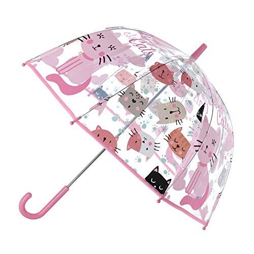 Kid Licensing Transparenter Regenschirm, 48,3 cm (19 Zoll), manuell, kleine Katzen, Jugendliche, Unisex, mehrfarbig, Einheitsgröße