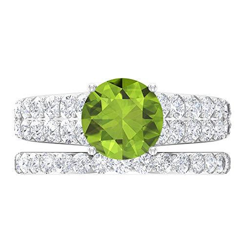 Juego de anillos de solitario para novia, 3,78 piedras preciosas redondas, D-VSSI moissanite 8 mm, anillo cónico con piedras laterales, banda de eternidad dorada, 18K Oro blanco, Size:EU 49