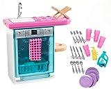 Barbie Mobilier coffret d'intérieur pour poupée avec lave-vaisselle, vaisselle et accessoires, jouet pour enfant, FXG35