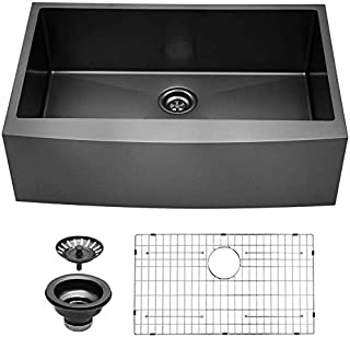 Kichae 30 Inch Farmhouse Sink Stainless Steel Apron Front Matte Black Deep Single Bowl 16 Gauge Tight Radius Round Corner