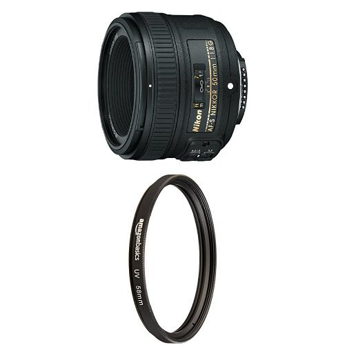 Nikon 50mm f/1.8G Lens for DSLR Cameras with UV Protection Lens Filter