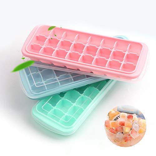 Molde de silicona creativo para cubitos de hielo con 24 cubitos de hielo, sin BPA, puede hacer cubitos de hielo en el hogar, bares, restaurantesHacer cubitos de hielo, azul + rosa