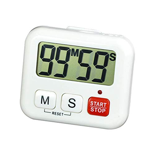 Anjing Digital Kitchen Timer Magnetic Countdown Timer Big Digits Back Stand White