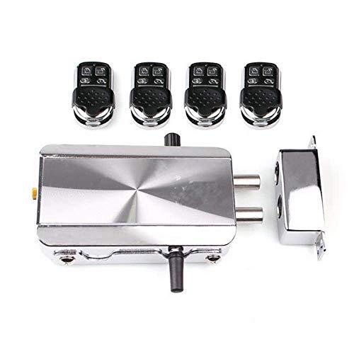 MLOZS Cerradura de puerta con control remoto duradero y antirrobo, de forma automática, inteligencia del hogar para palanca de puerta (color: plata, tamaño: talla única)