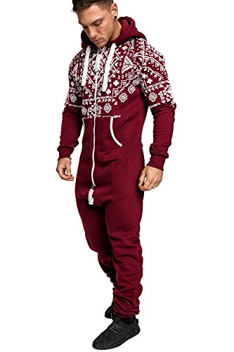 Amaci&Sons Herren Norweger Overall Jumpsuit Onesie Jogging Sportanzug Trainingsanzug Jogginganzug 3009 Bordeaux L
