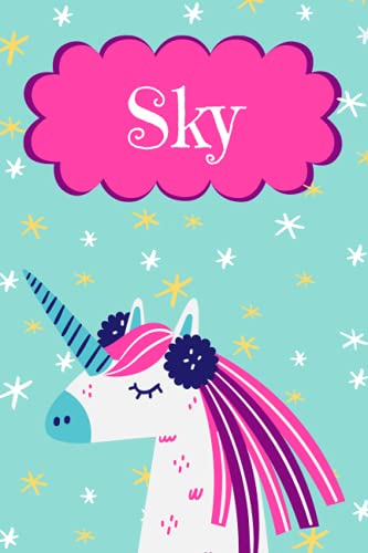 Sky: Personalised Sky Notebook/Journal Unicorn Design For Writing 120 Pages