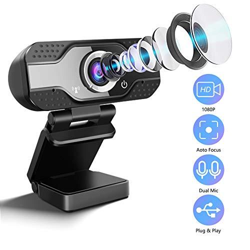 SaponinTree Webcam HD 1080P mit Mikrofon, USB Webcam für Laptop oder Desktop PC, Pro Streaming Computer Webkamera mit drehbarem Clip für Videoanrufe,Spiele,Live-Streaming und Konferenzen