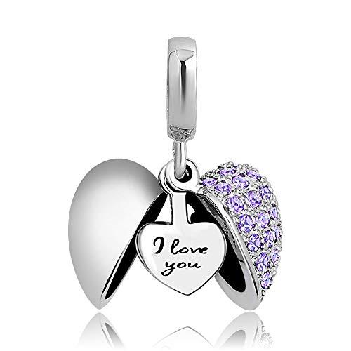 Poetic Charms Herz Love Anhänger Charm 925 Sterling Silber lila Geburtsstein Bead für Europäisch Armbänder