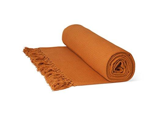 Just Contempo Überwurf/Tagesdecke, aus 100prozent Baumwolle, mit Wabenstruktur, extragroß, 100prozent Baumwolle, Terracotta (orange), King Size 102