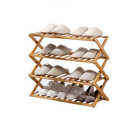 VOCD schoenenrek voor 4 dieren, bamboe, staande organizer, legplank, ideaal voor hal, badkamer, woonkamer, slaapkamer en gang Primaire kleur