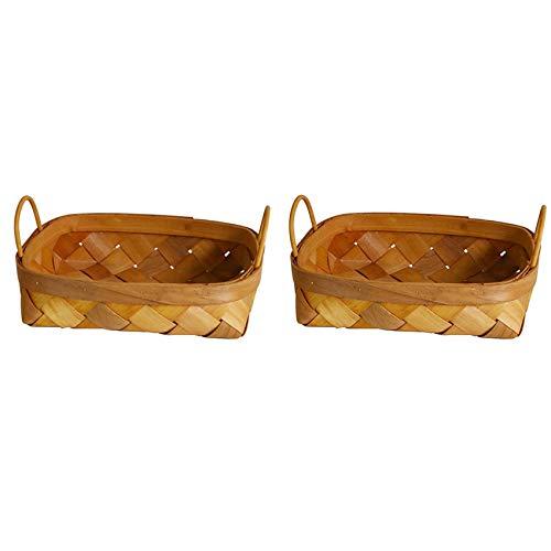 Cuasting Cesta de almacenamiento tejida a mano, 2 unidades, cesta de pan, cesta de frutas para el hogar, cocina, escritorio, dulces, organizador de artículos de mesa, pequeño y grande