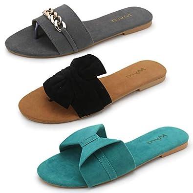 Myra Women's Combo of 2 Flat Casual Slide-in Fancy Designer Sandals    Casual Designer Patrty-wear Slide-in Sandals for Girls/Women - COM1184CN1185C