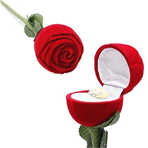 Caja de terciopelo para anillos, diseño de rosa roja, para almacenamiento, compromiso, boda, regalo de San Valentín