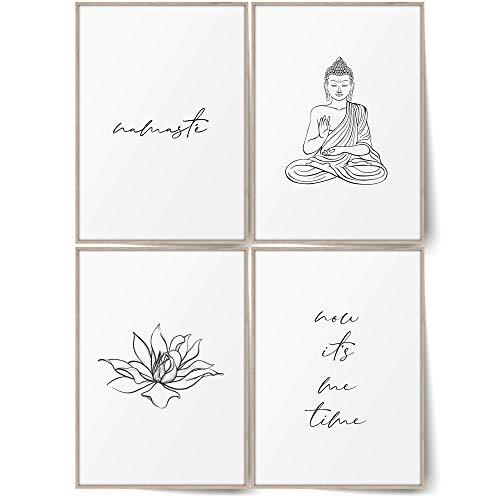 BLCKART Badezimmer Poster Set Stilvolle Bad Wandbilder mit Sprüchen WC Namaste Bilder Buddha Wandbilder Deko (A4 (ohne Rahmen), Badezimmer Bilder Set | Namaste Buddha)