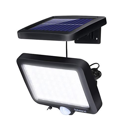 Lampe Solaire Exterieur avec Détecteur de Mouvement, Elfeland 56 LED Eclairage Exterieur Solaire Étanche IP67 d'éclairage Angle 120° Lumiere Solaire Jardin avec Câble de 5m pour Patio Garage Mur Cour