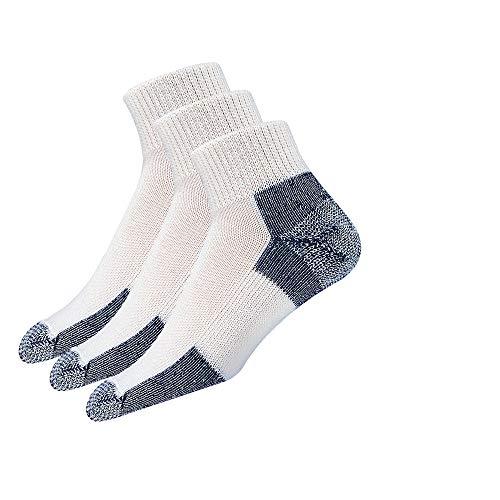 Thorlos Unisex JMX Running Thick Padded Ankle Sock, White (3 Pack), Large
