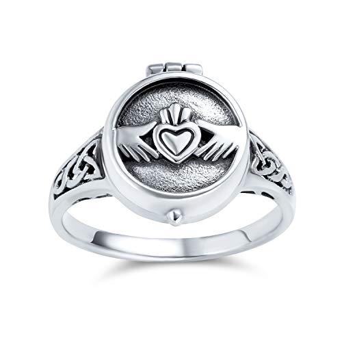 Celtic Irish Amistad Parejas Promesa Corazón Medallón Claddagh Ring Para Hombres Y Para Mujeres De Plata Esterlina