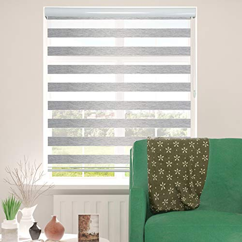 ShadesU Zebra Dual Layer Roller Sheer Shades Blinds Light Filtering Window Treatments Privacy Light Control for Day and Night (Maxium Height 72inch) (Grey Color) (Width 95inch)