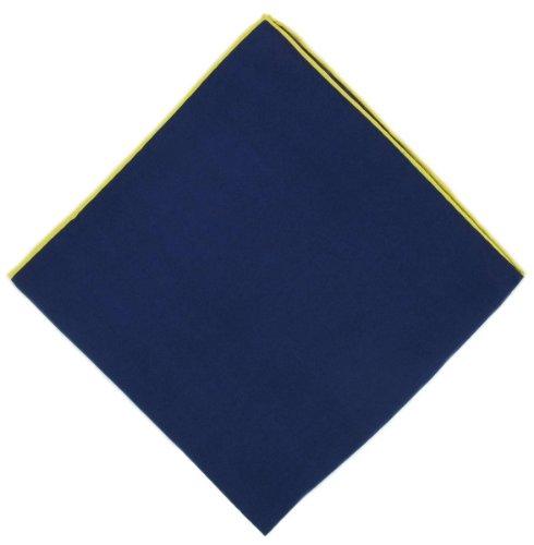 Michelsons of London Bleu marine/jaune serré mouchoir à la frontière de