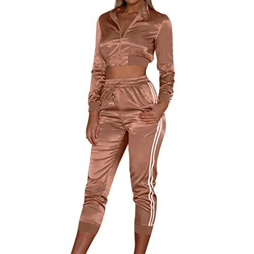 Juleya Tute Sportive Slim Fit Donna Giacche Maniche Lunghe Cerniera Giacche Vita Alta Pantalone Sportivo Set Colletto Tondo Camicette Breve Paragrafo Pantaloni Elasticizzati
